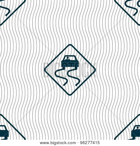 Road Slippery Icon Sign. Seamless Pattern With Geometric Texture. Vector
