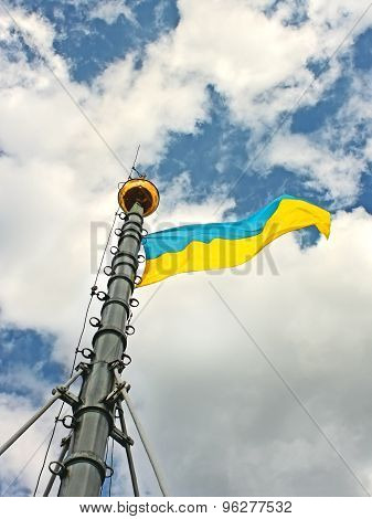 Ukrainian Flag On The Flagstaff