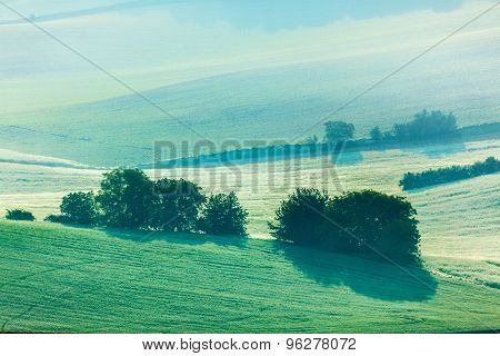 Moravian rolling fields landscape in morning mist. Moravia, Czech Republic