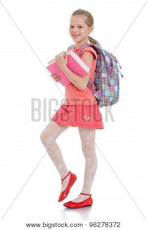 Cute blonde girl schoolgirl
