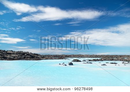 Blue shallow waters and beautiful sky