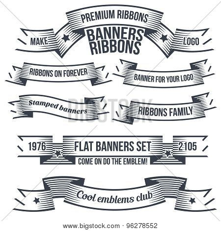Vintage banners and ribbons