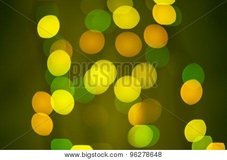 Yellow and green defocused bokeh lights
