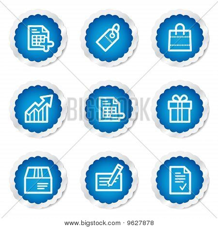 Shopping Web Icons  Blue Stickers Series