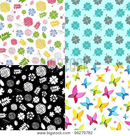 Abstract Natural Flower Seamless Pattern Background Set Vector I