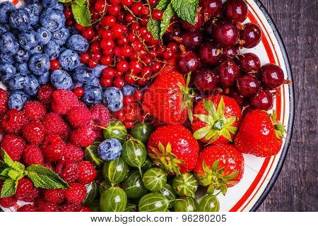 Set Of Summer Berries On A Wooden Background