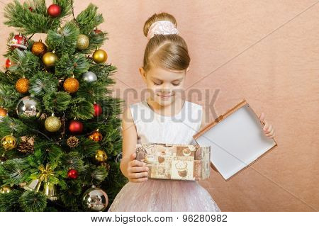 Five-year Girl Looks In Box With A Christmas Present