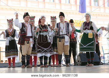 ZAGREB, CROATIA - JULY 17: Members of folk group Kitka from Istibanja, Macedonia during the 49th International Folklore Festival in center of Zagreb, Croatia on July 17, 2015