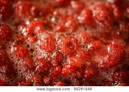 Rasberry Jam Cooking - Close Up Macro View Of The Boiling Berries