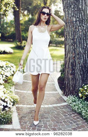 Rich Fashionable Woman Walking In Park