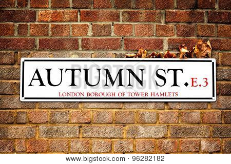 London street sign for Autumn St in Tower Hamlets, East London. The sign has dry autumn leaves caught between it and the red brick wall, highlighting the autumn leaves and Autumn Street concept.