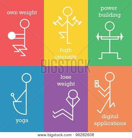 Set Of Lfitness Line Icons