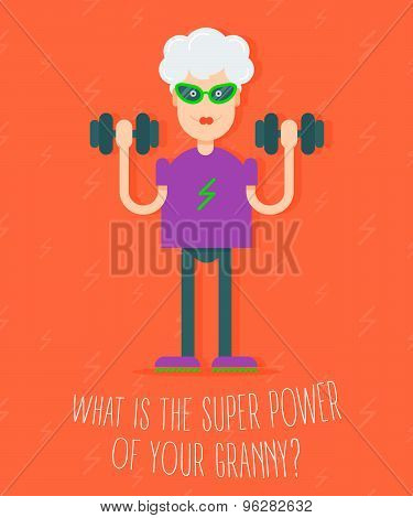 In Vogue Modern Grandmother With The Dumbbells