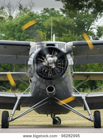 Biplane on Airfield