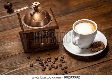Cappuccino, Coffee And  Coffee-mill