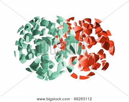 Red And Green 3D Explosion Spheres Fragments