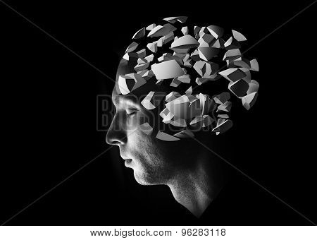 Male Head Profile With 3D Explosion Brain Fragments