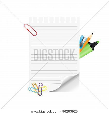 School Supplies And Empty Paper On White Background