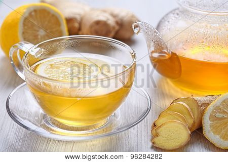 Cup of lemon and ginger tea