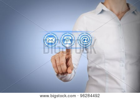 Business Contact Us on Touch Screen