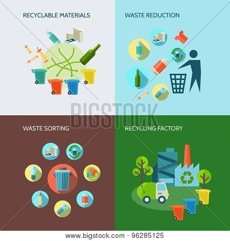 Recycling And Waste Reduction Icons Set