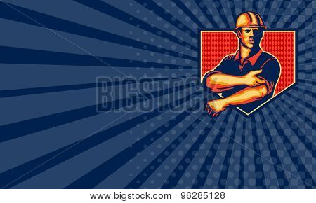 Business Card Construction Worker Rolling Up Sleeve Retro