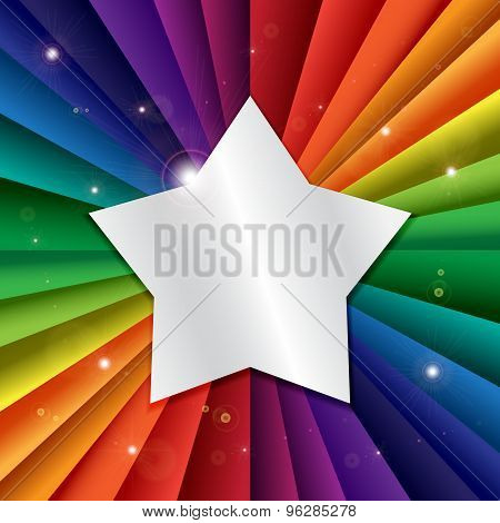 Bright Vector Rainbow Celebration Holiday Banner With Star