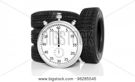 Silver chronometer with tyres, isolated on white