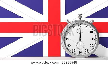 Flag of United Kingdom with chronometer
