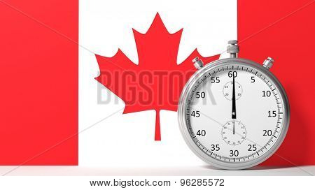 Flag of Canada with chronometer