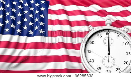 Flag of USA with chronometer