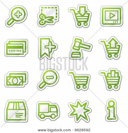 On-line Shopping Web Icons, Green Sticker Series
