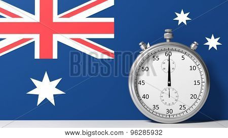 Flag of Australia with chronometer