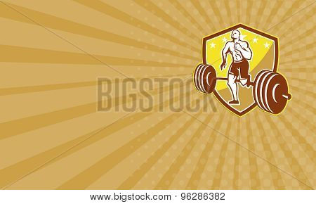 Business Card Crossfit Athlete Runner Barbell Shield Retro