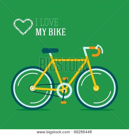 I Love My Hypster Bike Vector Illustration