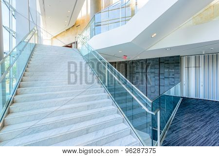 Abstract fragment of the architecture of modern lobby, hallway of the luxury hotel, shopping mall, business center in Vancouver, Canada. Interior design.