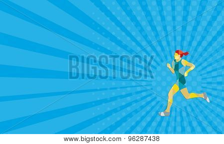 Business Card Female Triathlete Marathon Runner Low Polygon