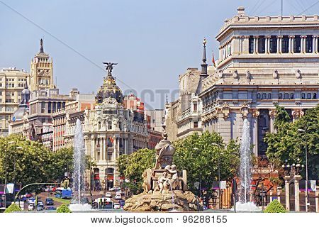 Back View To Cibeles Fountain And Alcala Street In Madrid