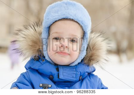 Portrait Of A Three-year Girl In The Winter