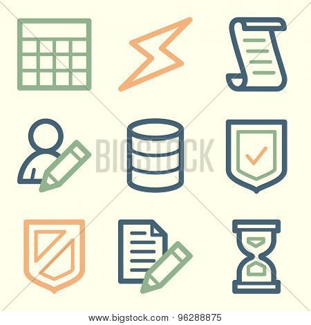 Database web icons, square buttons
