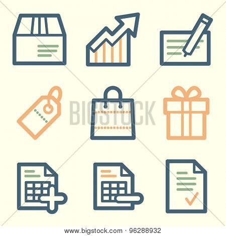 Shopping web icons, square buttons