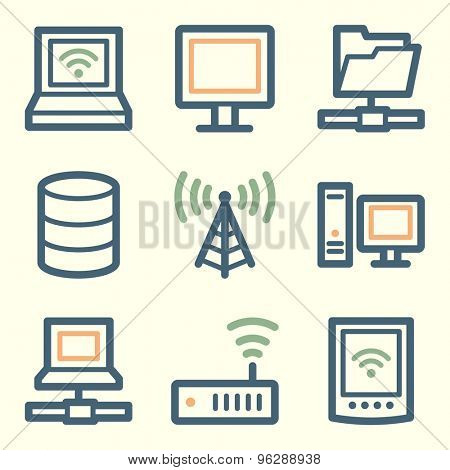 Network web icons, square buttons