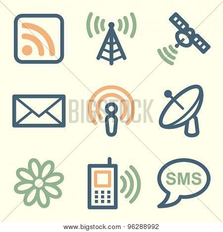 Communication web icons, square buttons