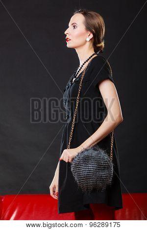 Retro Stylish Woman With Gray Handbag