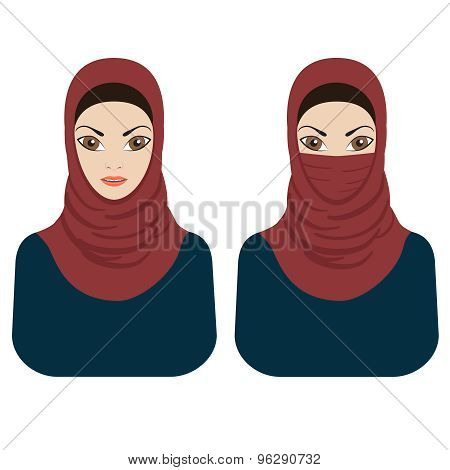 Muslim Women In Hijab And Paranja.