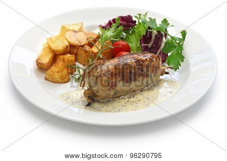 andouillette, french lyonnaise sausage isolated on white background