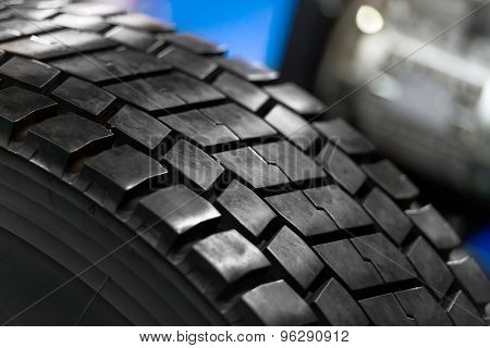 New car tire closeup photo