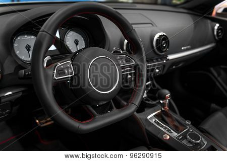 Luxury car interior angle shot
