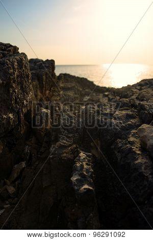 Closeup photo of rocks on the shore