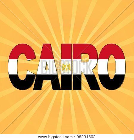 Cairo flag text with sunburst illustration